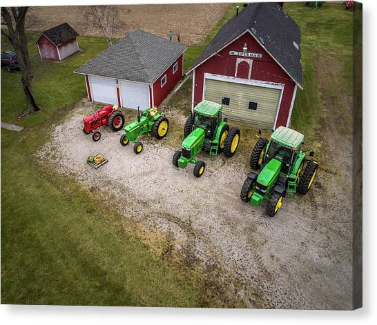 Lining Up The Tractors Canvas Print