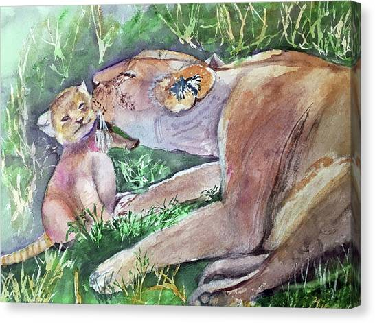 Lion And Cub Canvas Print
