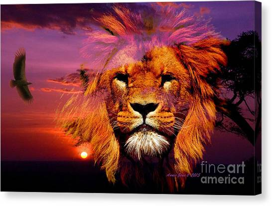 Lion And Eagle In A Sunset Canvas Print