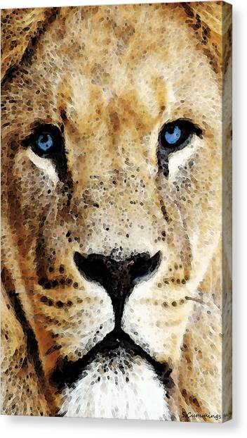 Detroit Lions Canvas Print - Lion Art - Blue Eyed King by Sharon Cummings