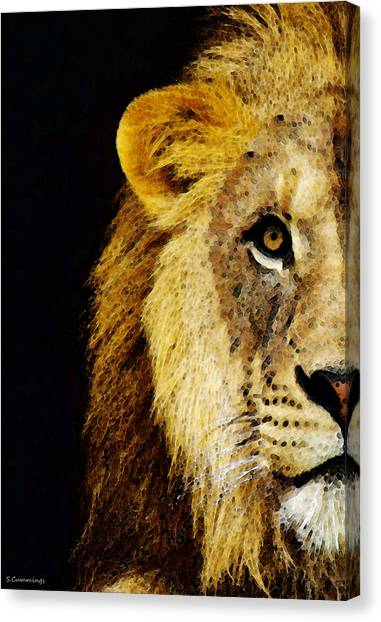 Detroit Lions Canvas Print - Lion Art - Face Off by Sharon Cummings