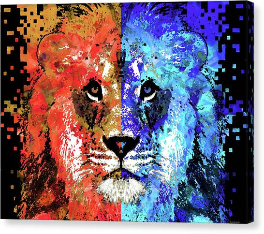 Mascot Canvas Print - Lion Art - Majesty - Sharon Cummings by Sharon Cummings