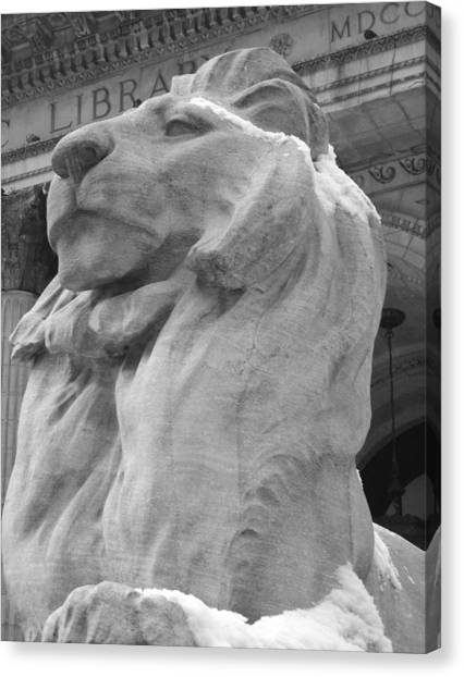 Lion At New York Public Library Canvas Print