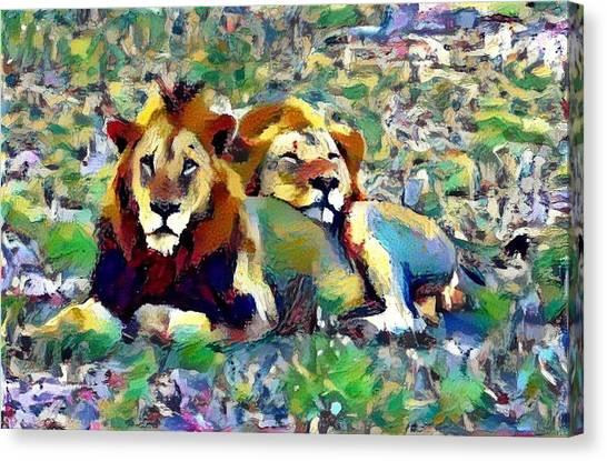 Lion Buddies Canvas Print