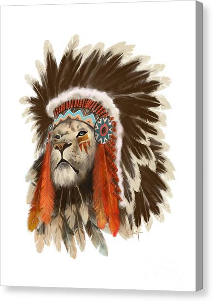 Canvas Print featuring the painting Lion Chief by Sassan Filsoof