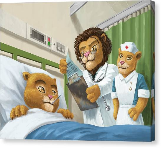 Lion Cub In Hospital Canvas Print