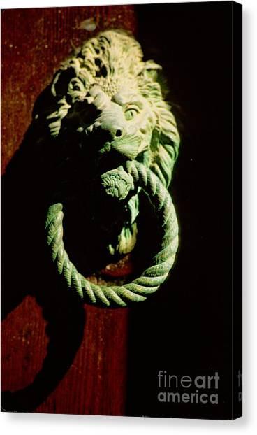 Lion Door Knocker In Venice Canvas Print by Michael Henderson