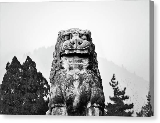 Wu Tang Canvas Print - Lion Guard At The Tomb Of Empress Wu Zetian. Qianling, China.    Black And White by David Lyons