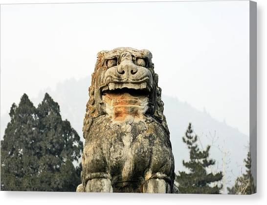 Wu Tang Canvas Print - Lion Guard At The Tomb Of Empress Wu Zetian. Qianling, China by David Lyons