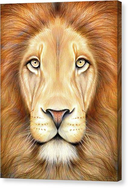 Kings Canvas Print - Lion Head In Color by Greg Joens