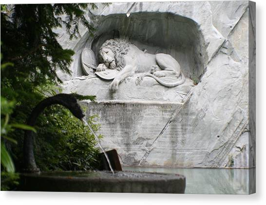 Lion Monument Lucerne Switzerland Canvas Print