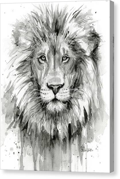 Lions Canvas Print - Lion Watercolor  by Olga Shvartsur