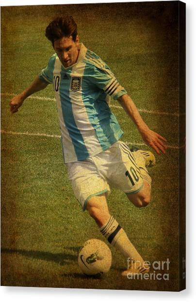 Lionel Messi Canvas Print - Lionel Andres Messi Argentine Footballer Fc Barcelona  by Lee Dos Santos