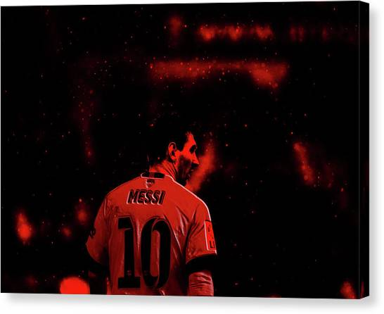 Diego Maradona Canvas Print - Lionel Messi 2a by Brian Reaves