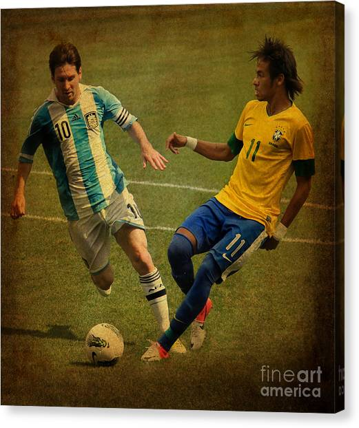 Lionel Messi Canvas Print - Lionel Messi And Neymar Junior Vintage Photo by Lee Dos Santos