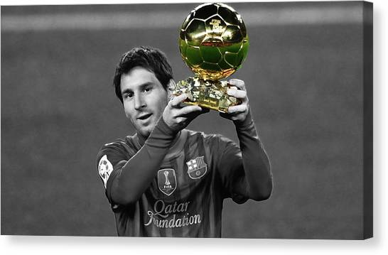 Diego Maradona Canvas Print - Lionel Messi And The Prize by Brian Reaves