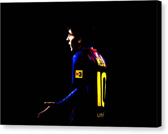 Diego Maradona Canvas Print - Lionel Messi  by Brian Reaves