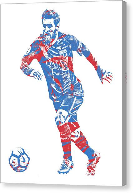 Lionel Messi Canvas Print - Lionel Messi F C Barcelona Argentina Pixel Art 1 by Joe Hamilton