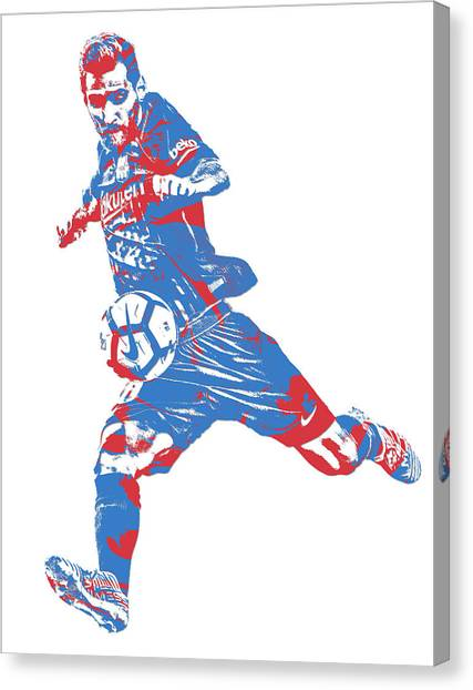 Lionel Messi Canvas Print - Lionel Messi F C Barcelona Argentina Pixel Art 2 by Joe Hamilton