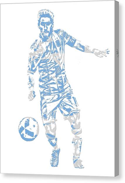 Lionel Messi Canvas Print - Lionel Messi F C Barcelona Argentina Pixel Art 3 by Joe Hamilton