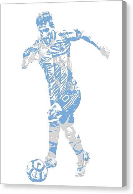 Lionel Messi Canvas Print - Lionel Messi F C Barcelona Argentina Pixel Art 4 by Joe Hamilton