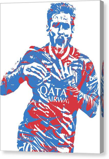 Lionel Messi Canvas Print - Lionel Messi F C Barcelona Argentina Pixel Art 5 by Joe Hamilton