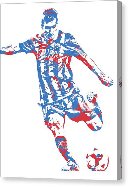 Lionel Messi Canvas Print - Lionel Messi F C Barcelona Argentina Pixel Art 6 by Joe Hamilton