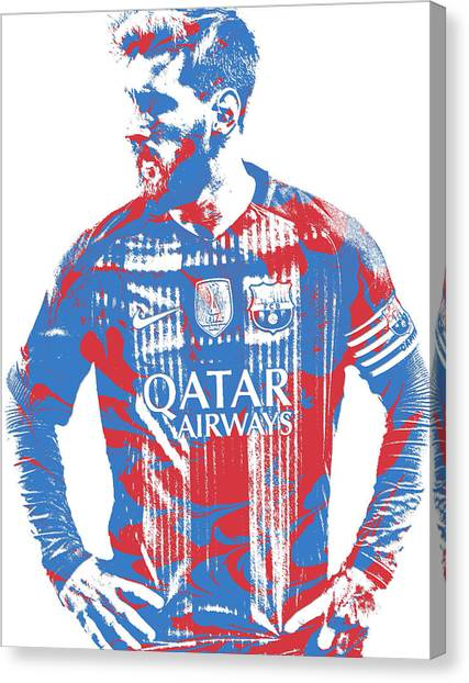 Lionel Messi Canvas Print - Lionel Messi F C Barcelona Argentina Pixel Art 7 by Joe Hamilton