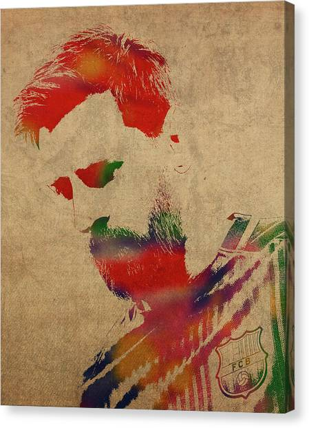 Lionel Messi Canvas Print - Lionel Messi Footballer Watercolor Portrait by Design Turnpike