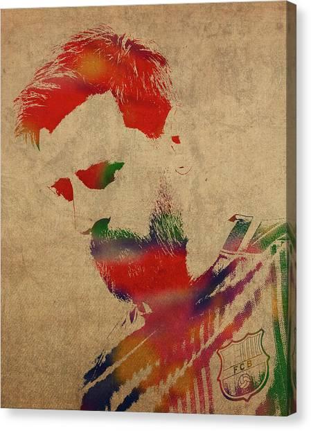 Lionel Messi Canvas Print - Lionel Messi Footballer Watercolor Portrait by Design Turnpike