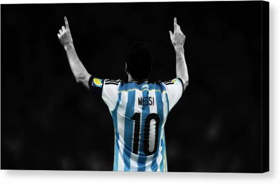 Diego Maradona Canvas Print - Lionel Messi Number One by Brian Reaves