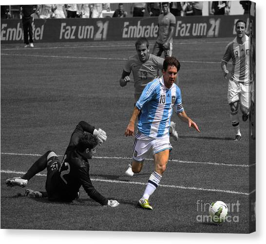Lionel Messi Canvas Print - Lionel Messi The King by Lee Dos Santos