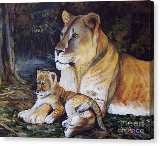 Lioness And Cub Canvas Print