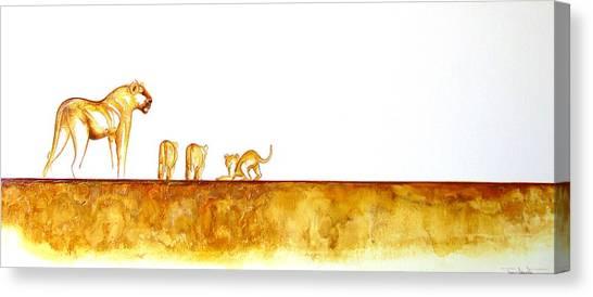 Lioness And Cubs - Original Artwork Canvas Print