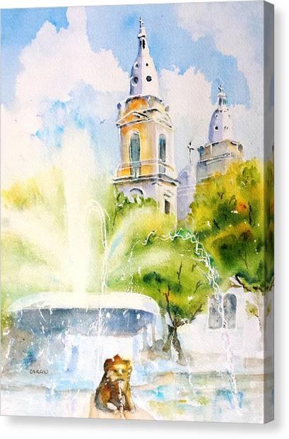 Puerto Canvas Print - Lions Fountain Plaza Las Delicias  Ponce Cathedral Puerto Rico by Carlin Blahnik CarlinArtWatercolor