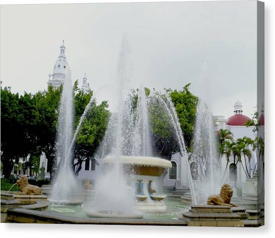Lions Fountain, Ponce, Puerto Rico Canvas Print