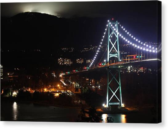 Lions Gate Bridge And Grouse Mountain Canvas Print