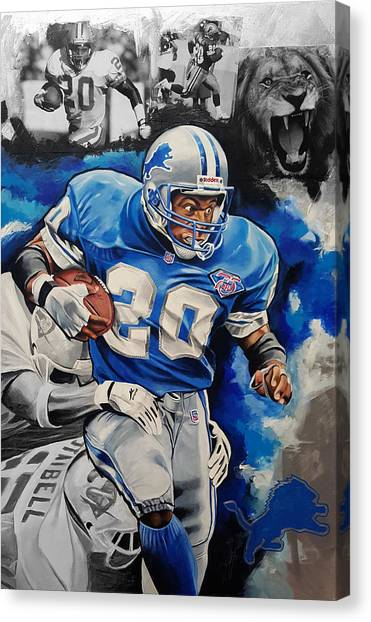 Barry Sanders Canvas Print - Lion On The Loose by Joshua Jacobs