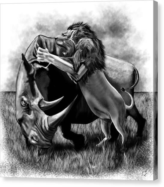 Rhinos Canvas Print - #lionvsrhino #lion #rhino #rhynosaurus by David Burles