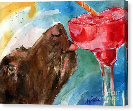 Chocolate Labrador Retriever Canvas Print - Lip Smack Daq by Molly Poole