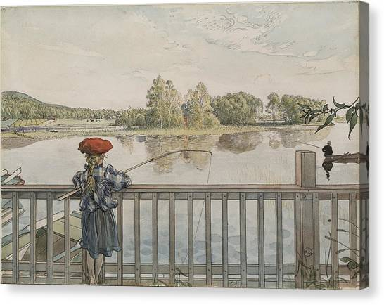 Angling Art Canvas Print - Lisbeth Angling. From A Home by Carl Larsson