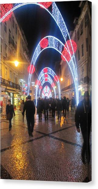 Magicians Canvas Print - Lisbon By Night With New Year Decorations by Anamarija Marinovic