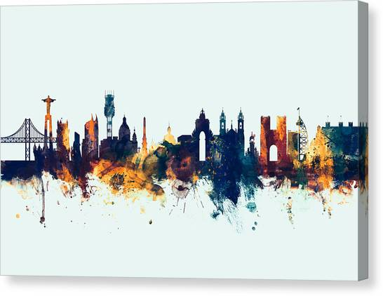 Portugal Canvas Print - Lisbon Portugal Skyline by Michael Tompsett
