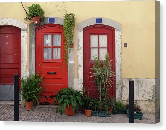 Architectural Detail Canvas Print - Lisbon Red Doors by Carlos Caetano