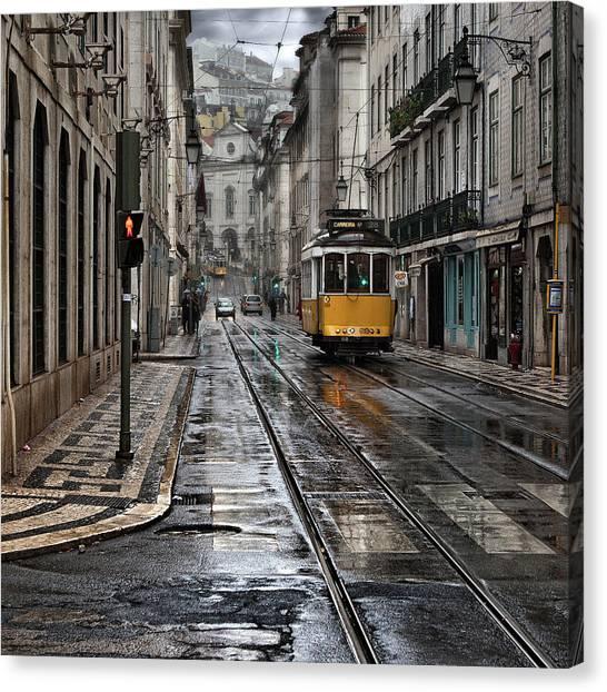 Light Rail Canvas Print - Lisbon Streets by Jorge Maia