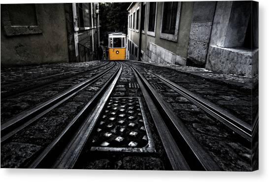 Light Rail Canvas Print - Lisbon Tram by Jorge Maia