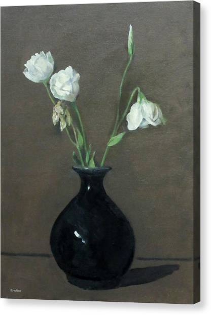 Lisianthus In Black Vase Canvas Print
