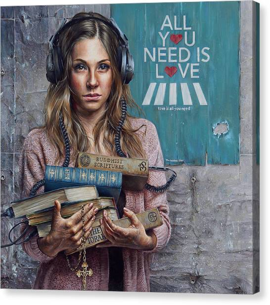 Headphones Canvas Print - Listen 2 by Brent Schreiber
