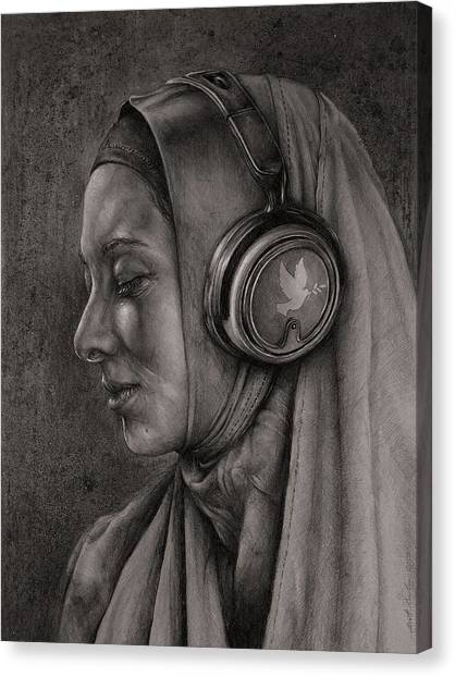 Headphones Canvas Print - Listen 21 by Brent Schreiber