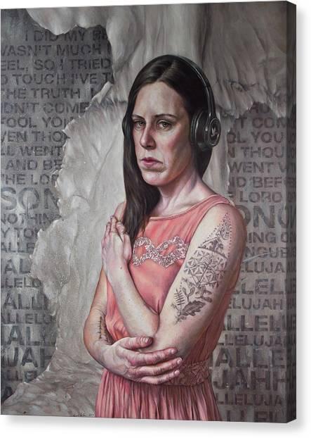 Headphones Canvas Print - Listen 24 - Hallelujah by Brent Schreiber